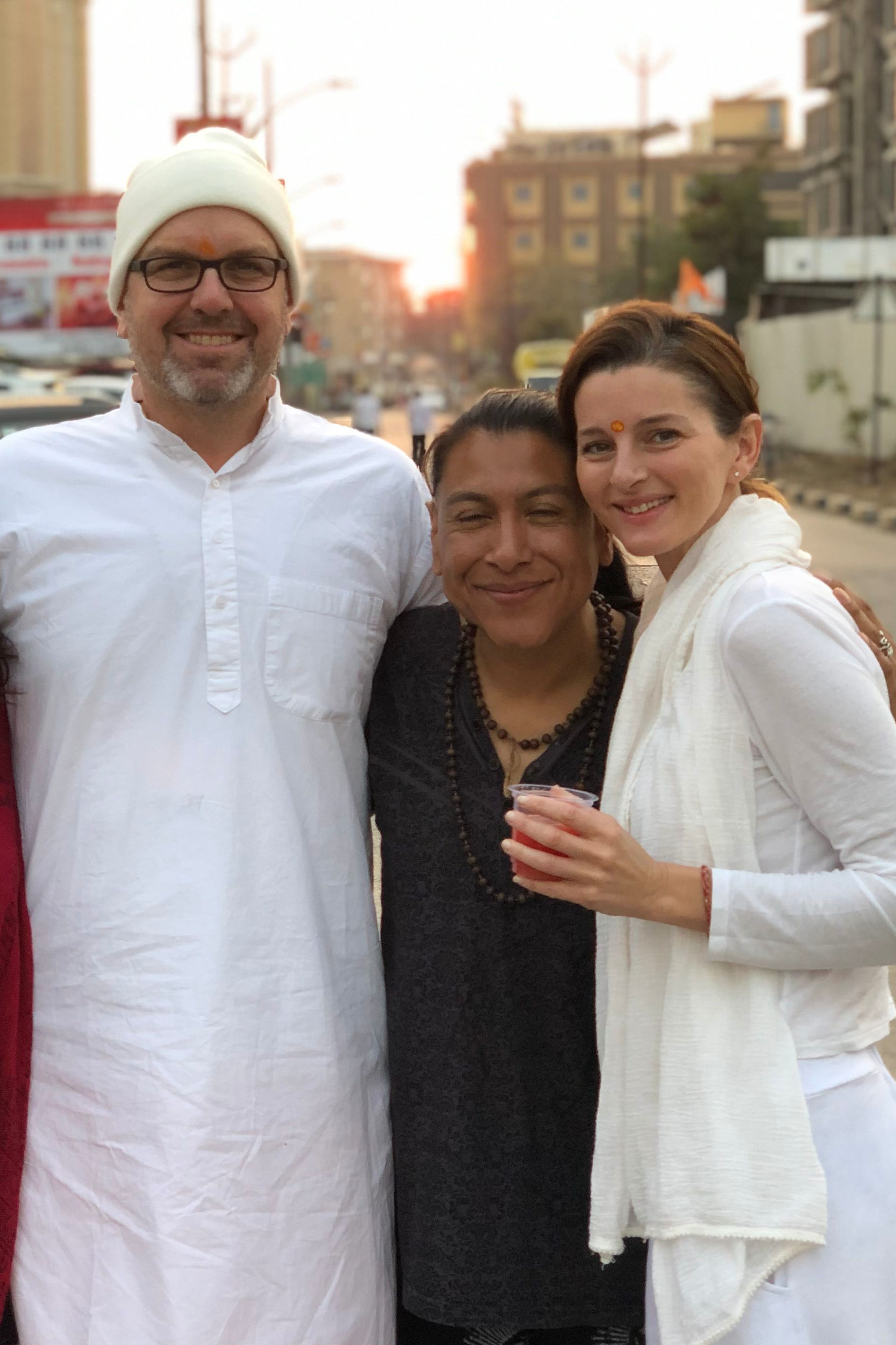 Ramakrishna, Jose & Kayla after darshan in Shirdi