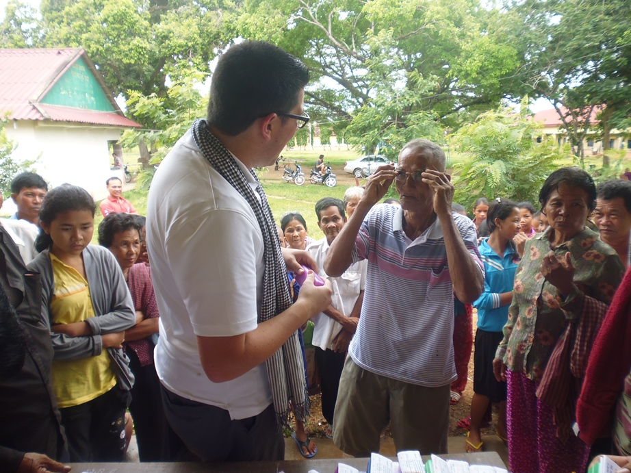 The village elder receives his custom glasses