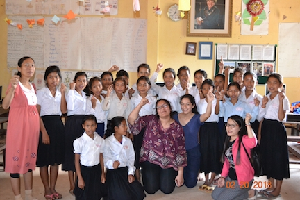 Mira with her students