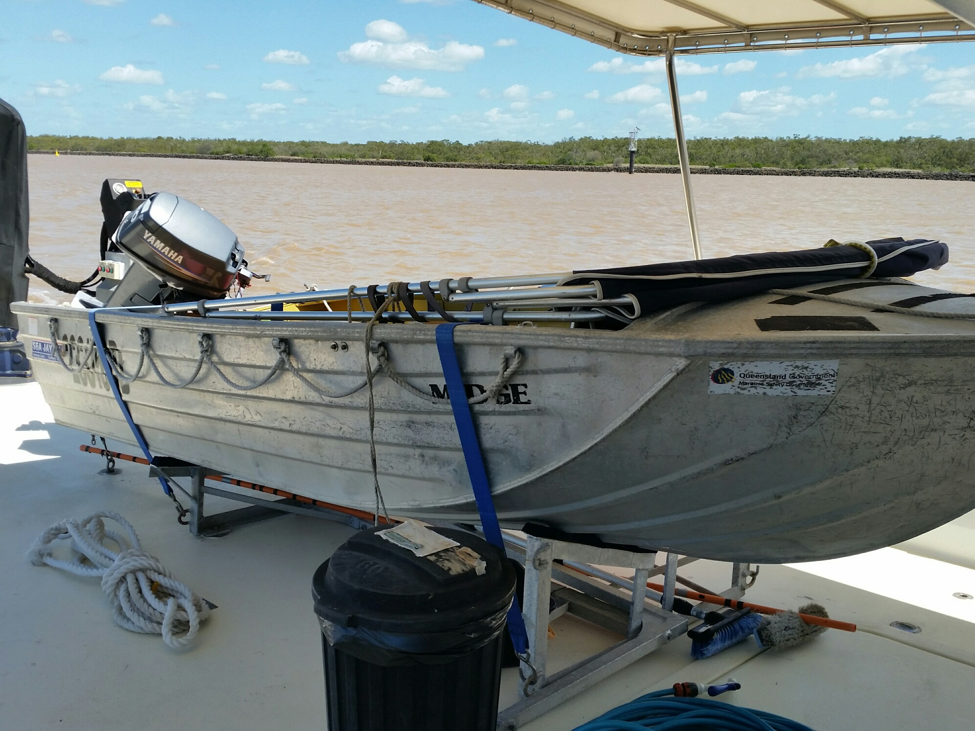 """The current vessel - a SeaRay 4.1m v-nosed punt named """"MIDGE"""""""