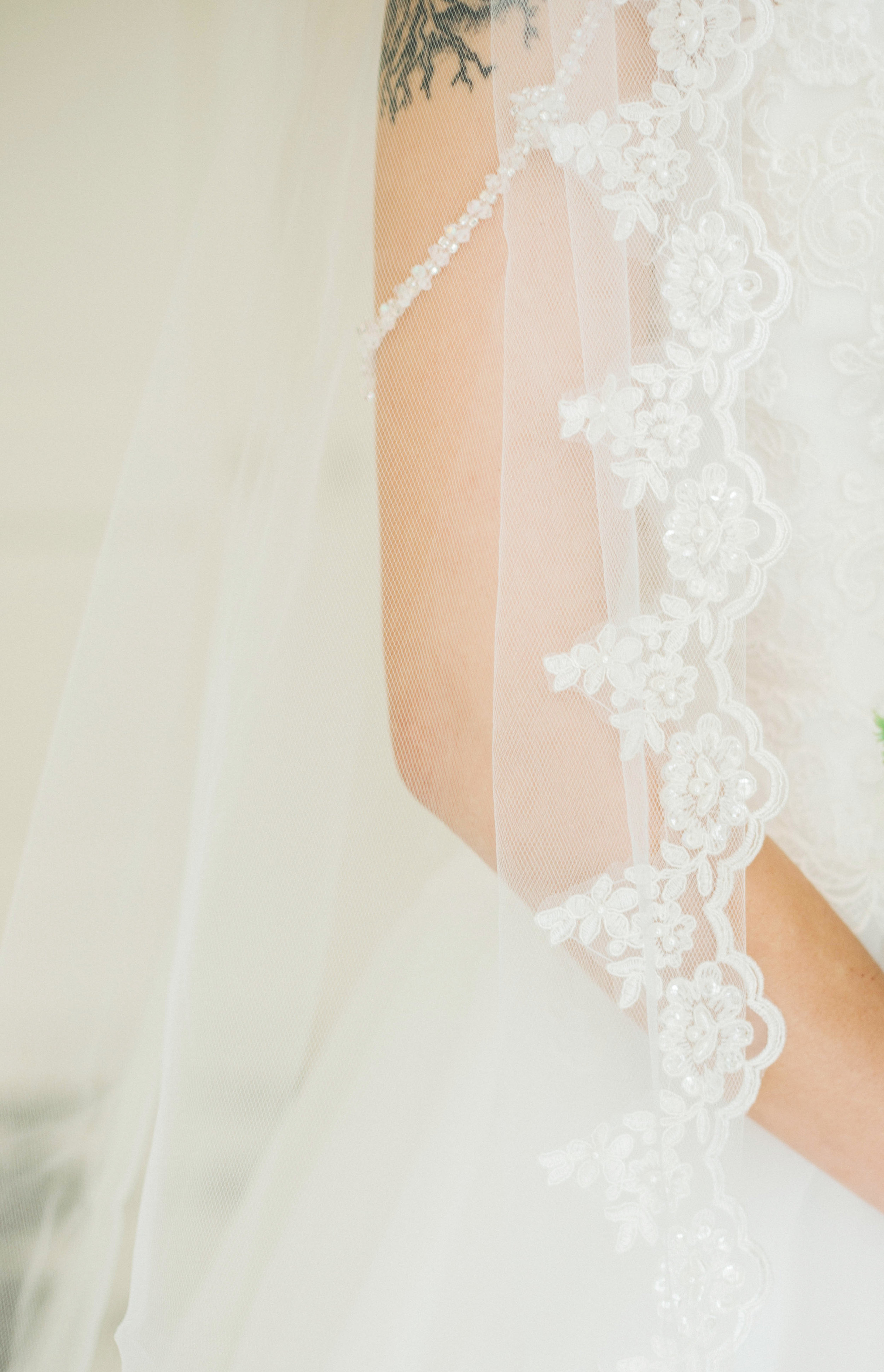 A lace cathedral length wedding veil.