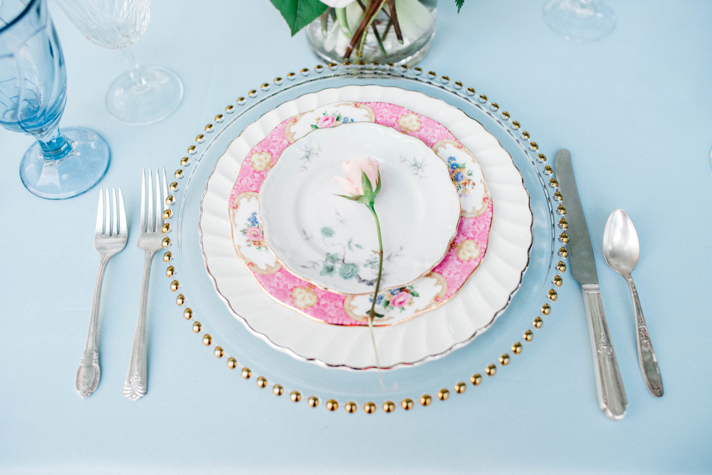 A floral place setting in North Carolina