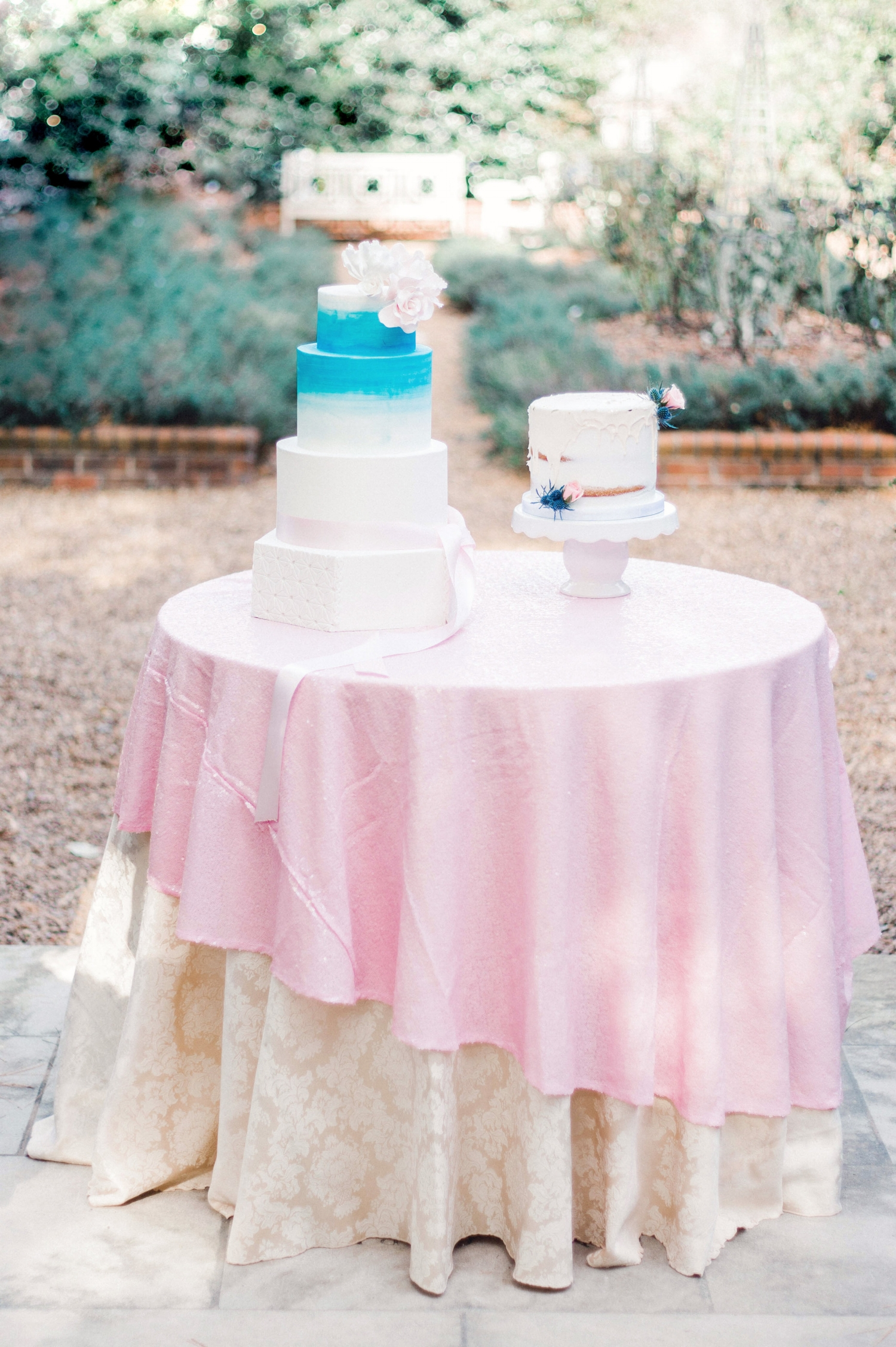 Pink and Blue Wedding Cake Table