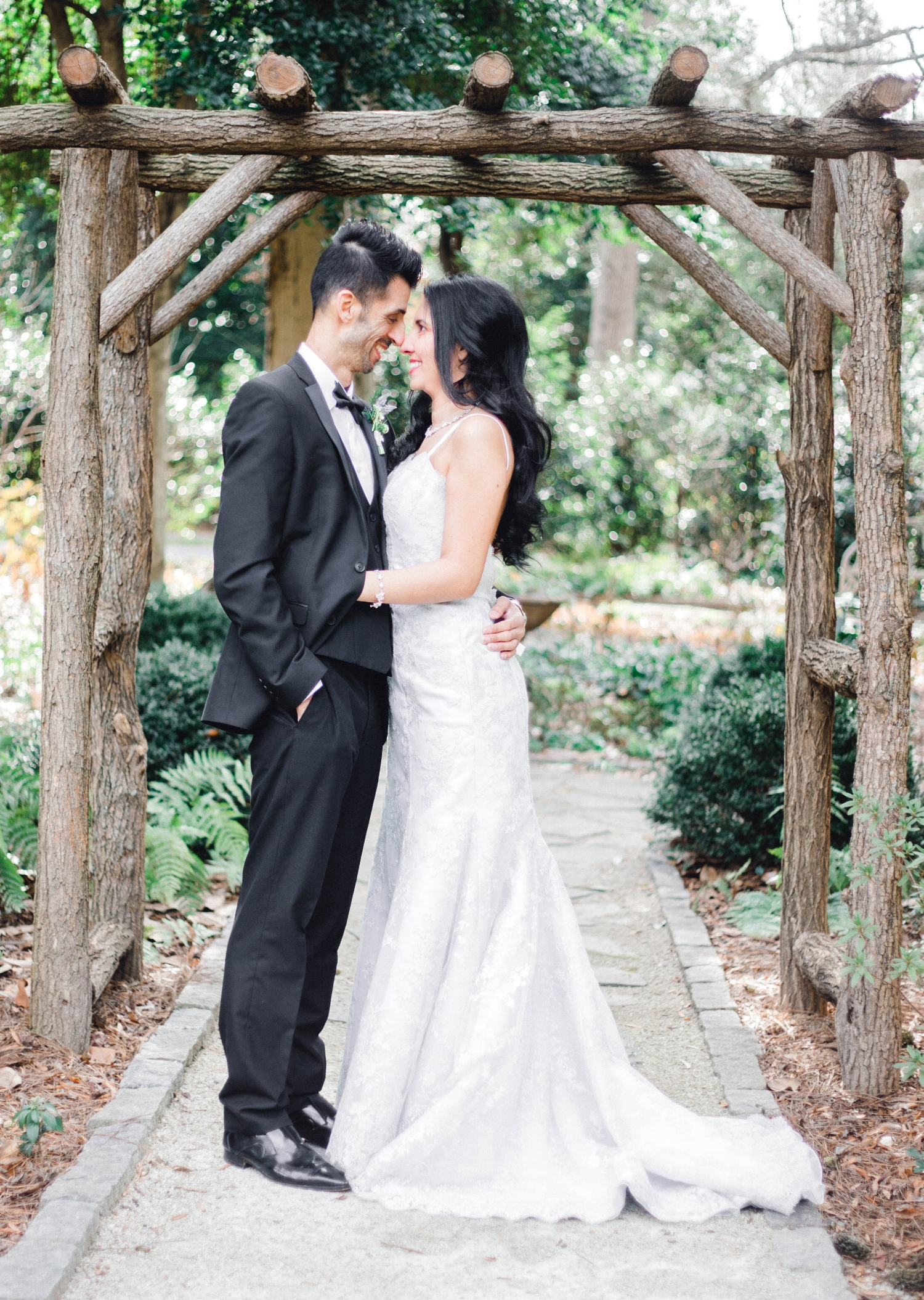 A bride and groom at the Duke Mansion in Charlotte, North Carolina