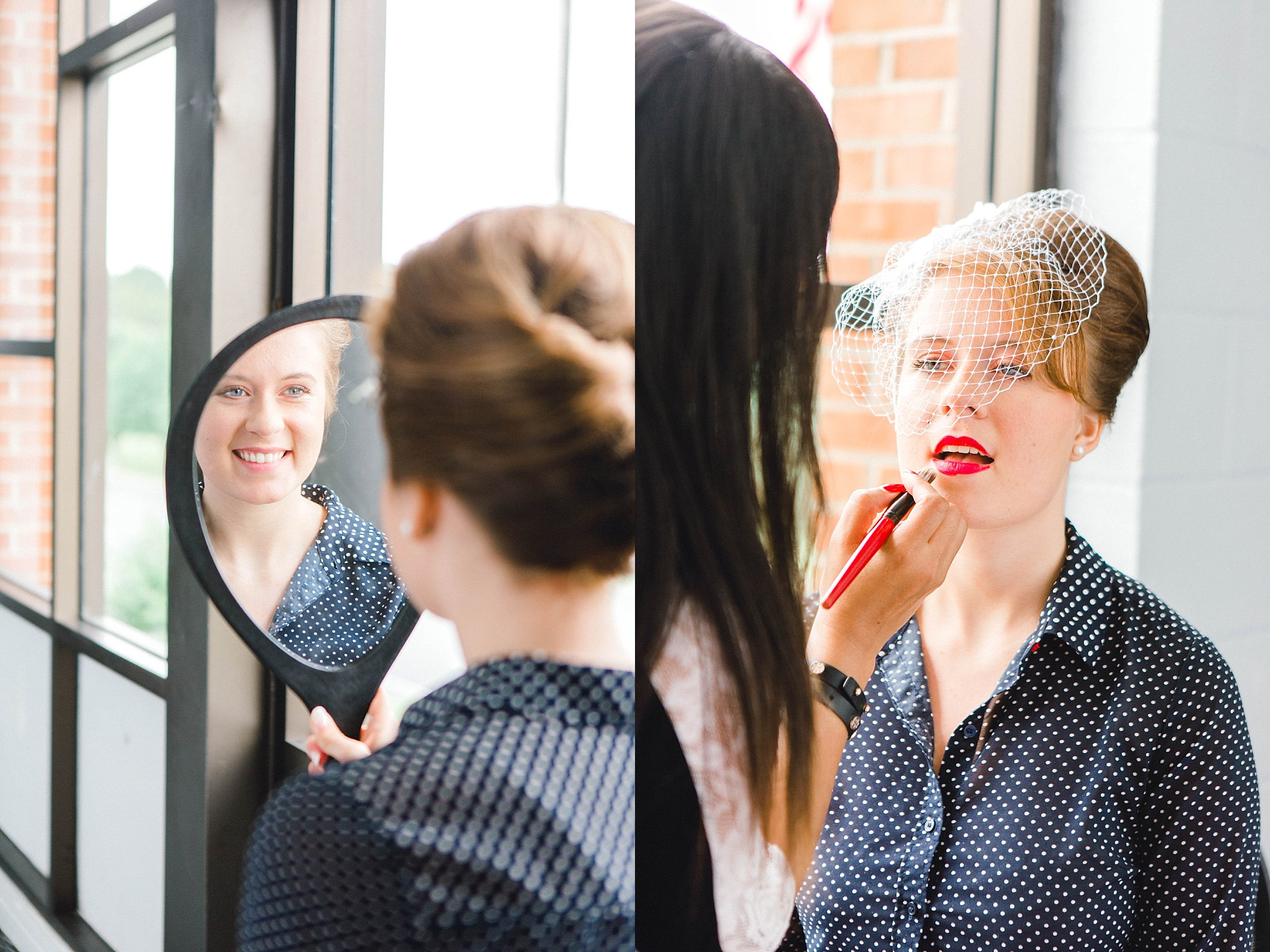 A bride with classic red lipstick getting her makeup done on her wedding day.