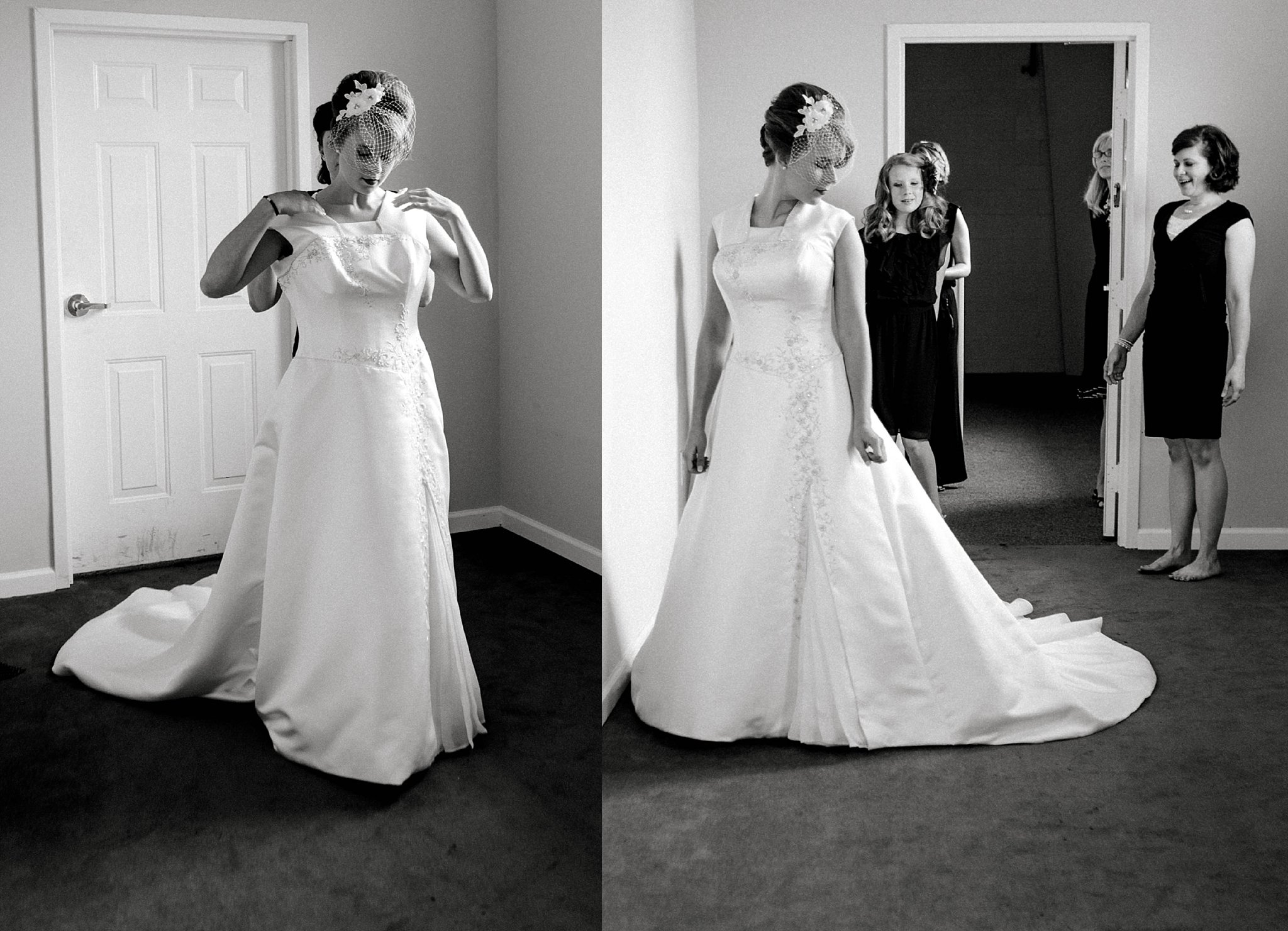 Black and white photos of a bride putting her wedding dress on.