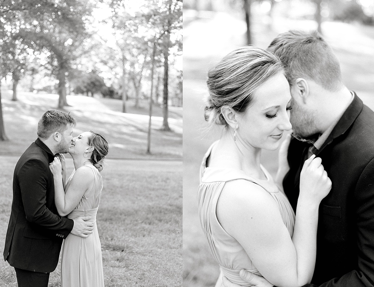 Black and white engagement pictures.