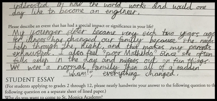 Elliot's candid entrance paper to St. Monica Academy School.