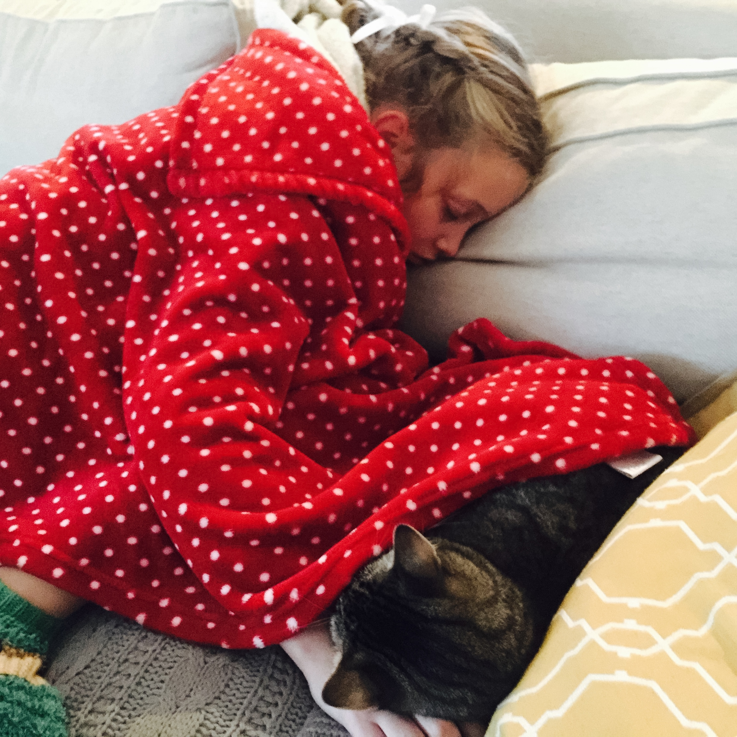 """""""It's nice to know that pets understand me because they sleep a lot."""" Mathilda with Sherlock."""