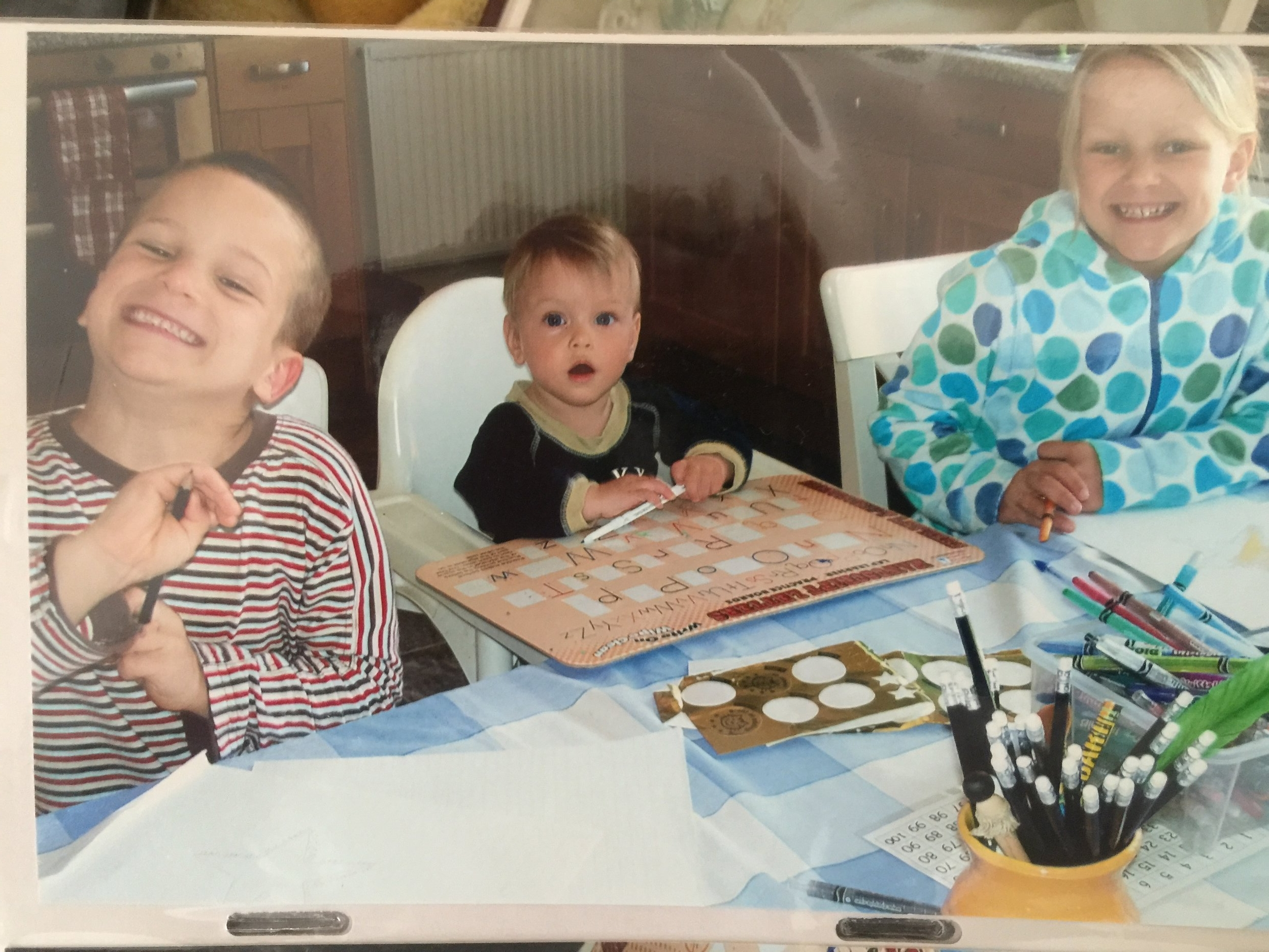 Home-schooling pre-Narcolepsy. Elliot, Mathilda, and Liberty in our kitchen in Bristol 2007.