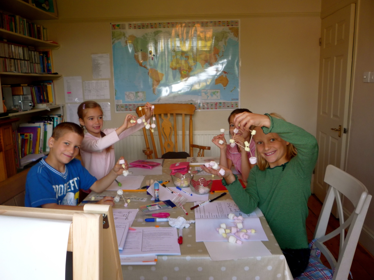 In Bristol, 2009. Marshmallow molecules the home school way, a few months before Mathilda became sick. From Left to right: Elliot, Heather-Rose, Hannah-Jane, and Liberty. Our kitchen was our classroom too. Hannah is now 14 and about to sit her chemistry GCSE. Go Hannah-Jane!