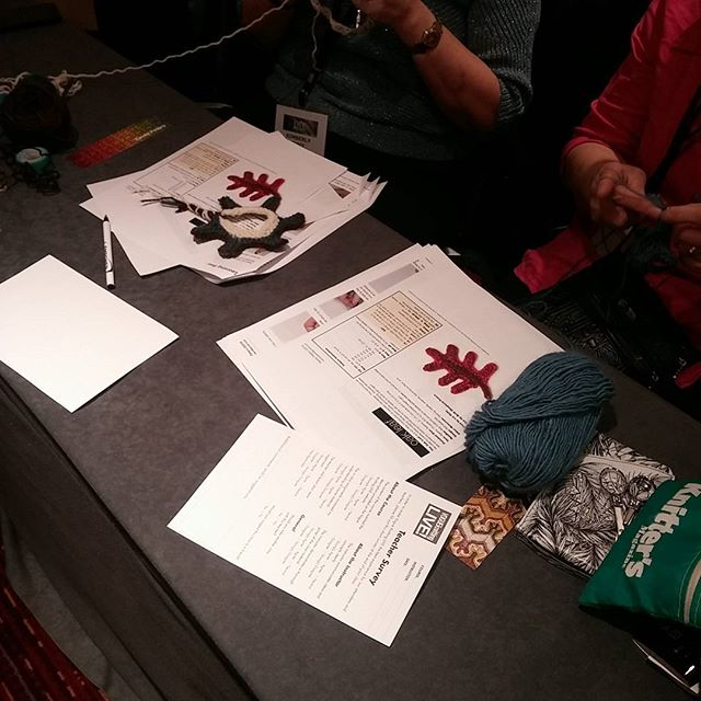Making some leaves at @vogueknitlive !