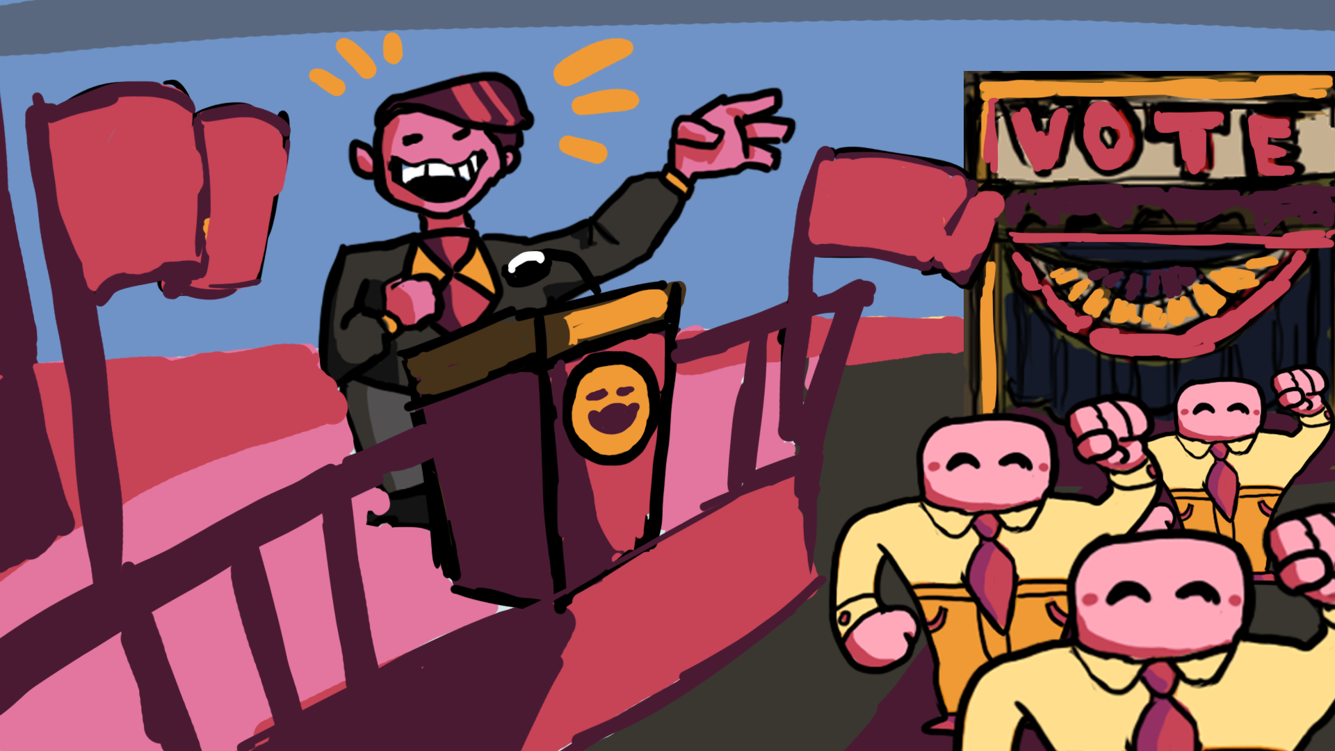 Punks n' Patriots - Winner of Best Game at the Global Game Jam, NYU Game Center (2017). Click and hold on a point to move. Right click to wave. Wave at protesters to win them over. Bring them to the polls to get them to vote for you or leave them in the field to keep argue with other voters.Credits: Artist (character sprites, illustrations)