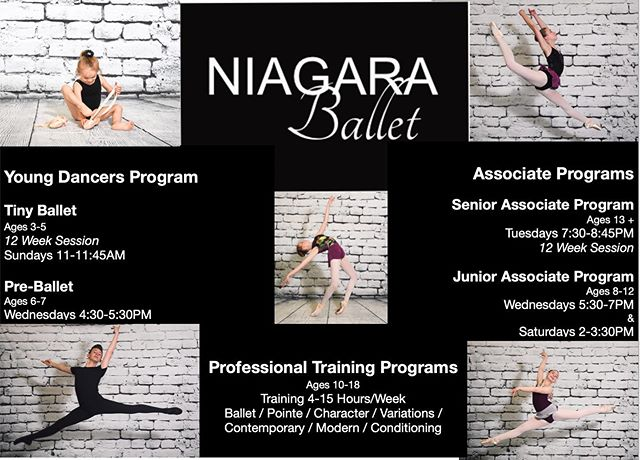 Training Programs 2019/2020  Whether your dancer is just beginning their journey, wants to add an extra class to their training or looking to pursue a professional career. We have a program for all!  Ages 3 +  Register Online Today! NIAGARABALLET.COM  #niagaraballet #niagaraballetschool