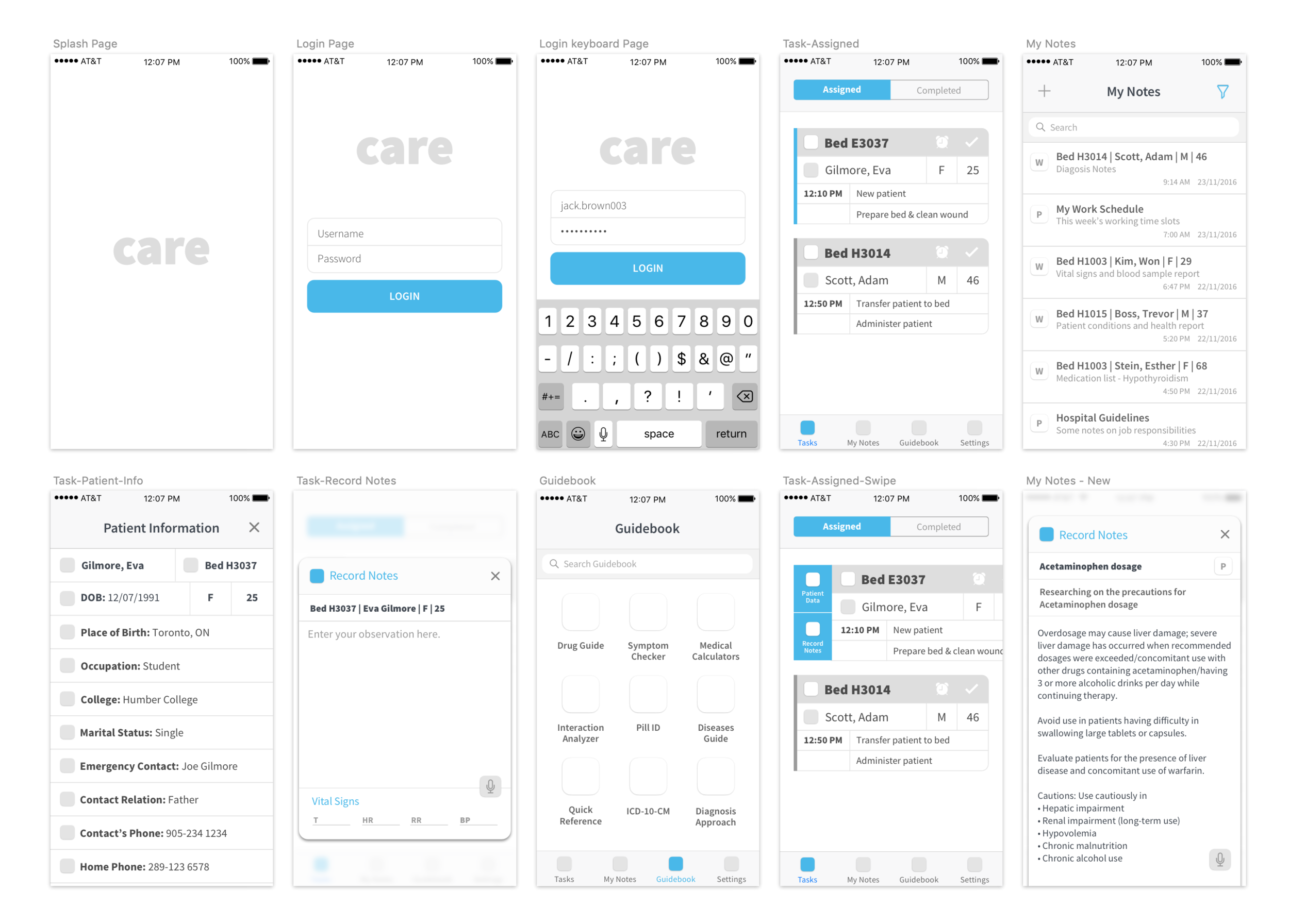 Initial wireframes: Establishing the basic structure of the app