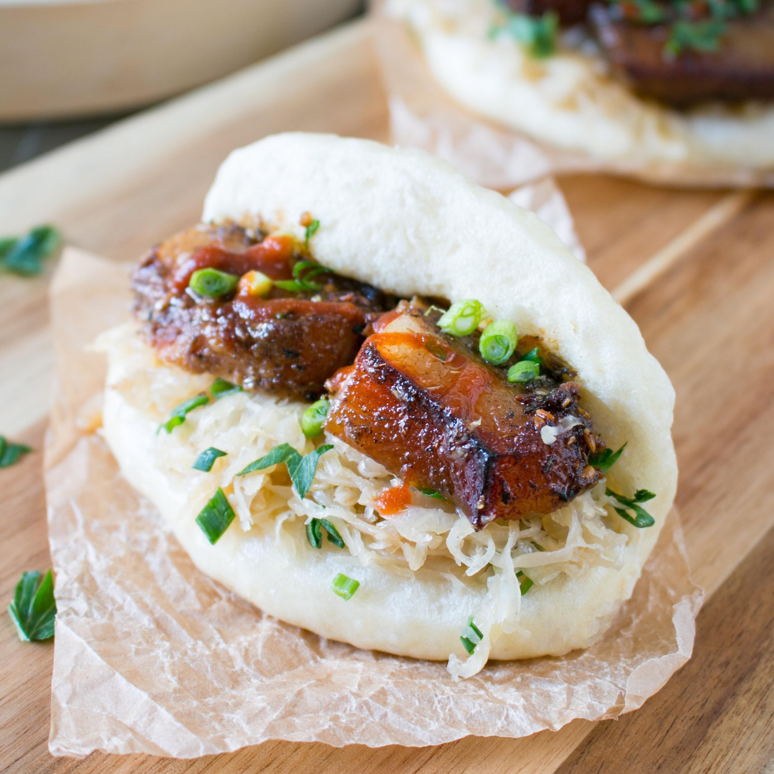 PORK - Watermelon + Pork Belly SkewersSteamed Buns with Asian Pork BellyMini Meatballs with Basil Walnut PestoMini Pork Carnita TacosMini Pulled Pork Sliders with Slaw + Pickles