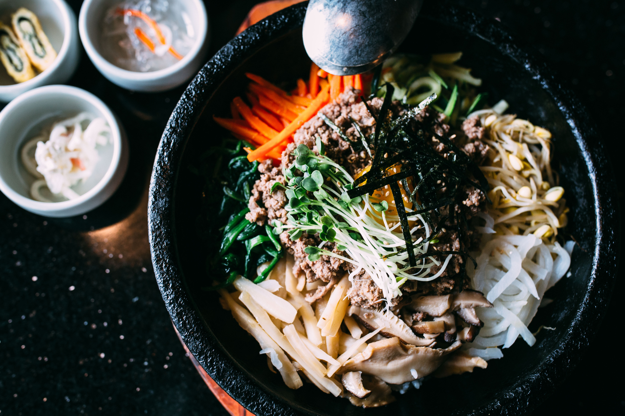 KOREAN BBQ - Build Your Own Bibimbap BowlsBulgogi | Bamboo Sprouts |Kimchi |Sesame CarrotsSoy Glazed Shitakes |Scallion Slaw,Gochujang Date Sauce |Rice |Lettuce Cups