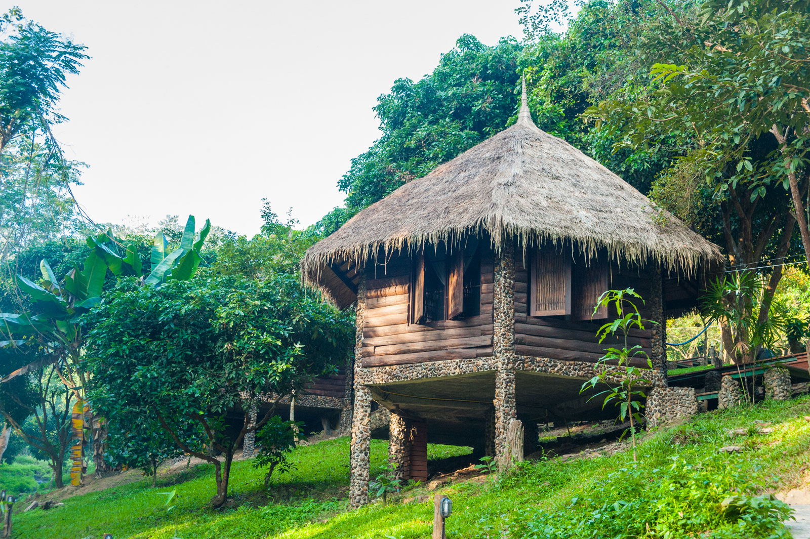 BAMBOO HUT 3   1-2 Guests   • Queen Bed • Mosquito net canopy • Ensuite bathroom • Outdoor seating area • Breakfast included • Fan