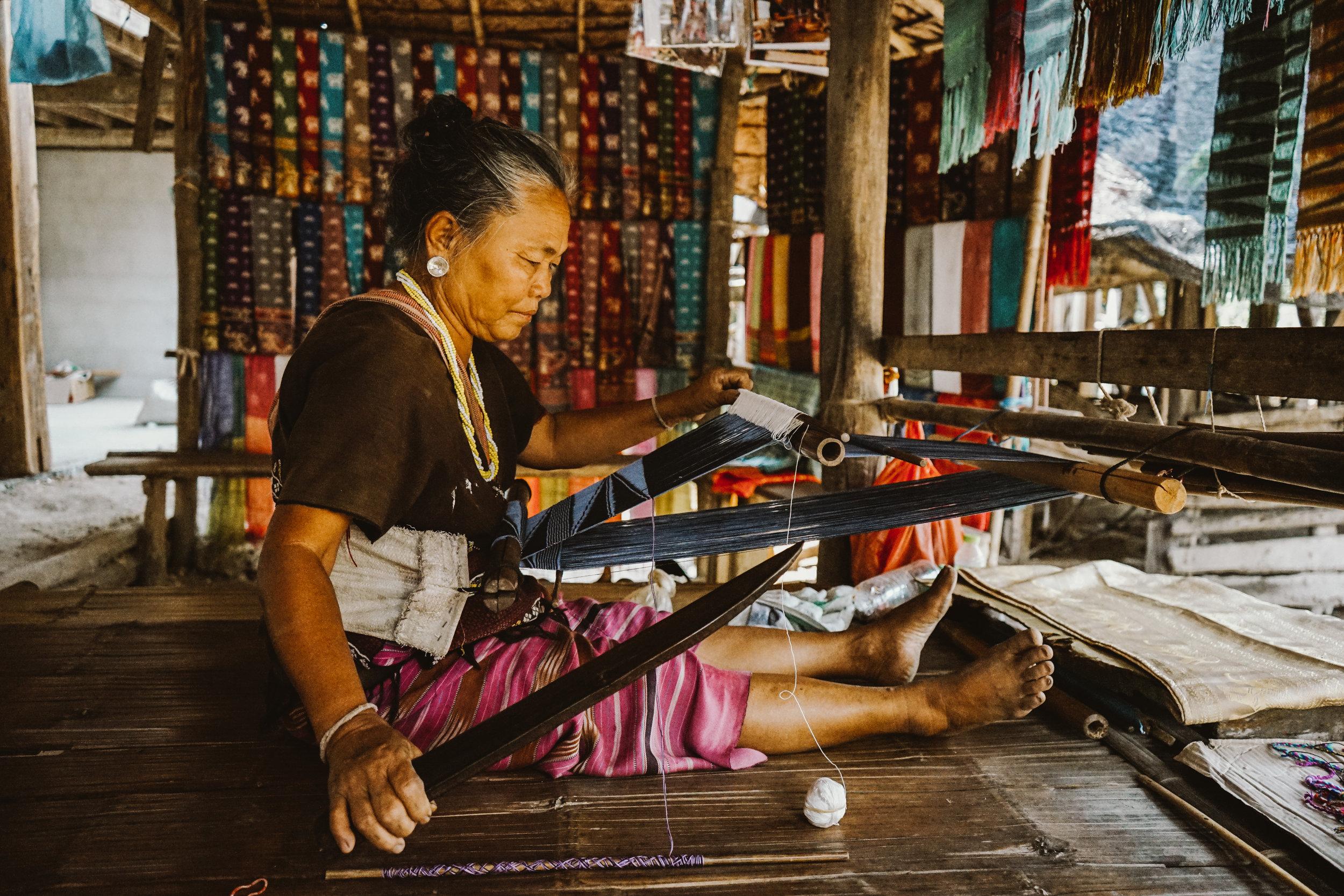 Karen hill tribe woman weaving
