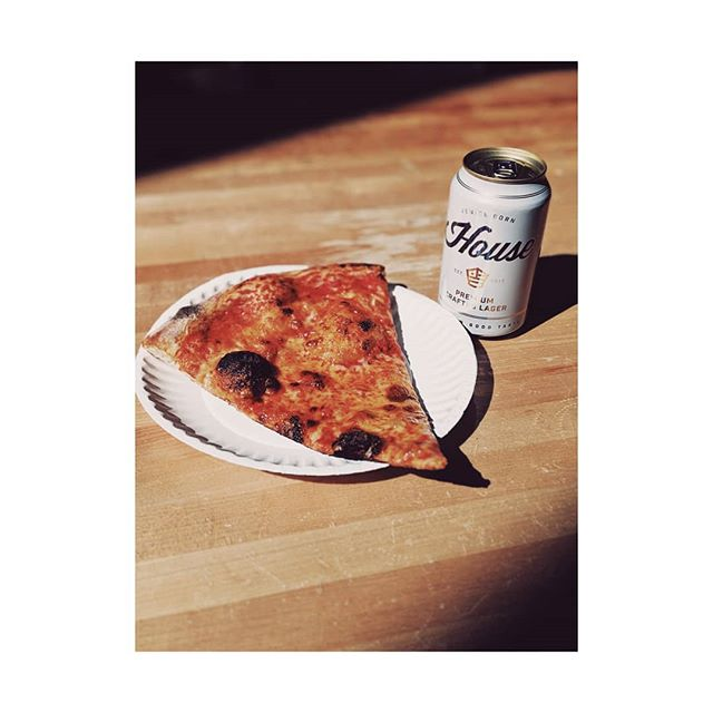 Happy hour 3pm-7pm $5 cheese slice & a @housebeer $5 pours of natural wine $7 @housebeer six packs $1 off beer and wine cans 🙏🍕