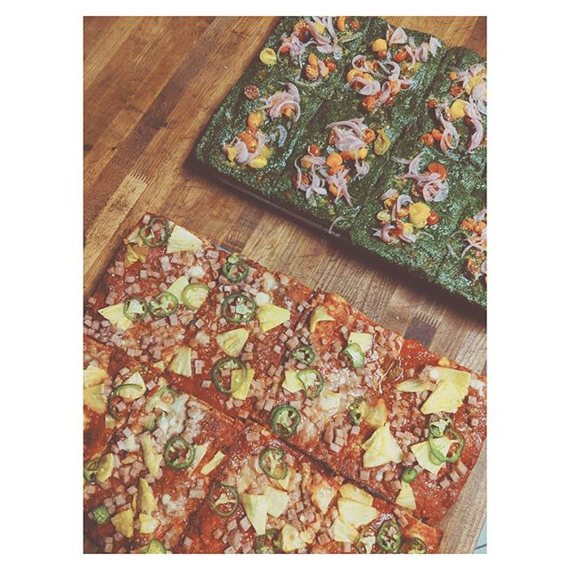 It's Friday and we are feeling special. Made some limited pesto squares. 🙏🍕