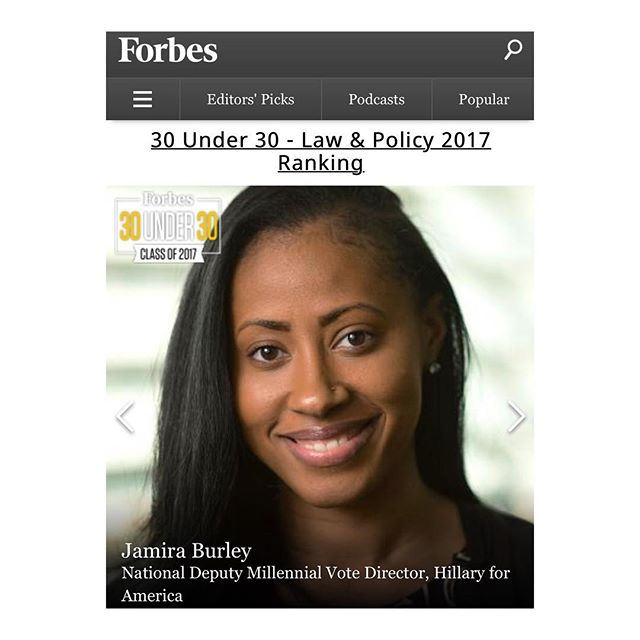 "Great start to the New Year #30Under30 ... s/o to @forbes truly honored to be amongst this amazing list of trailblazers ""Championing individual rights & political movements"" #LawAndPolicy"