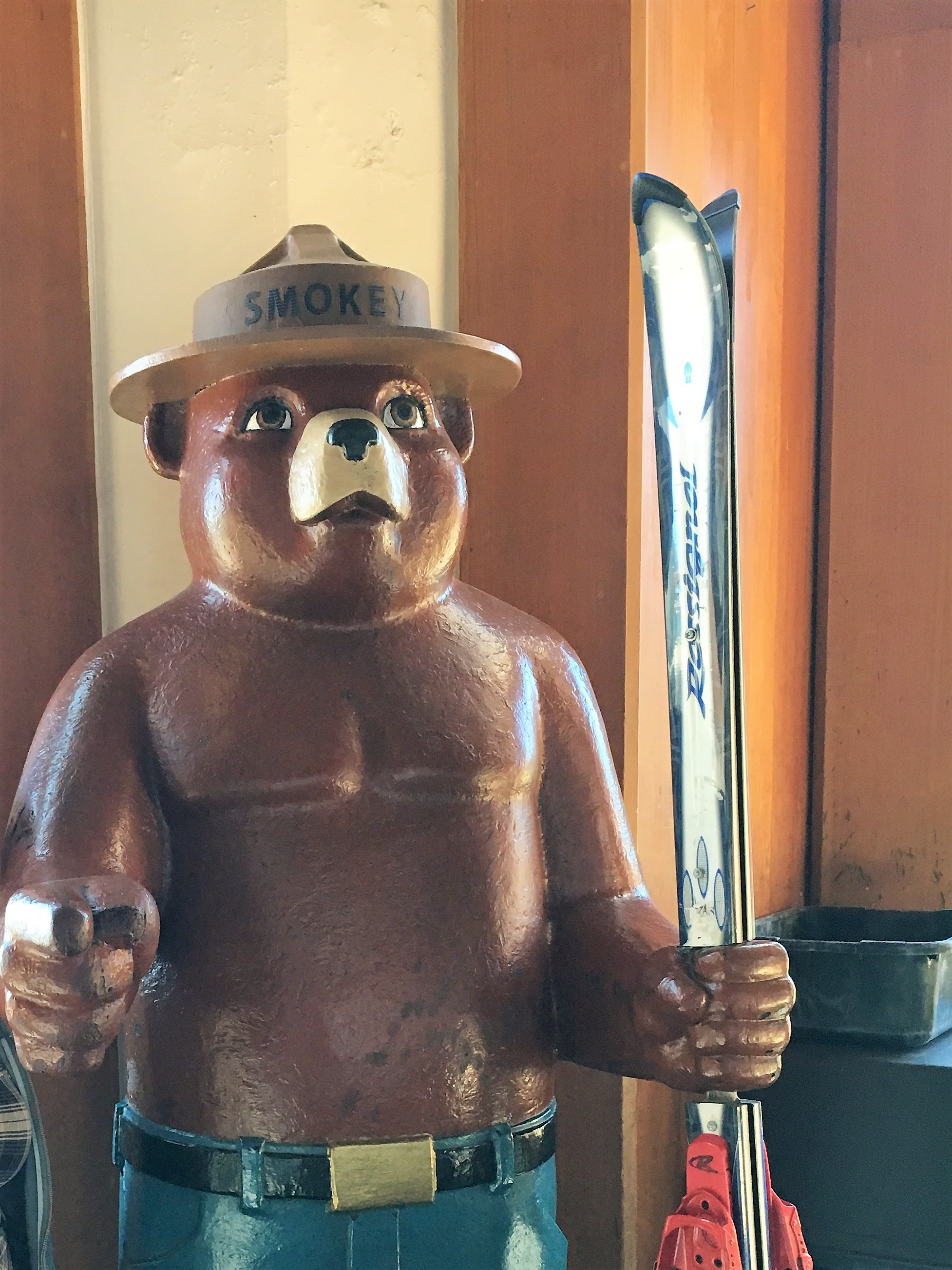 Visit Smokey the Bear in the Timberline Ski Hut Across from Lodge