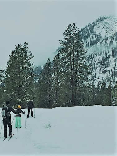 Cross country skiing along Icicle Creek, across from Sleeping Lady Resort