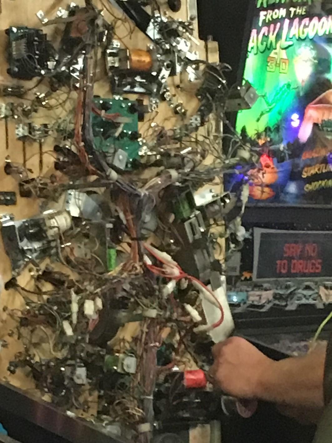 Old-school mechanics of a pinball machine