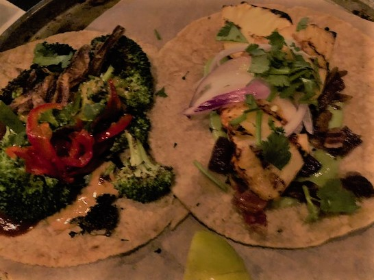 Charred Broccoli & Grilled Pineapple and Bacon Tacos at Pablo y Pablo