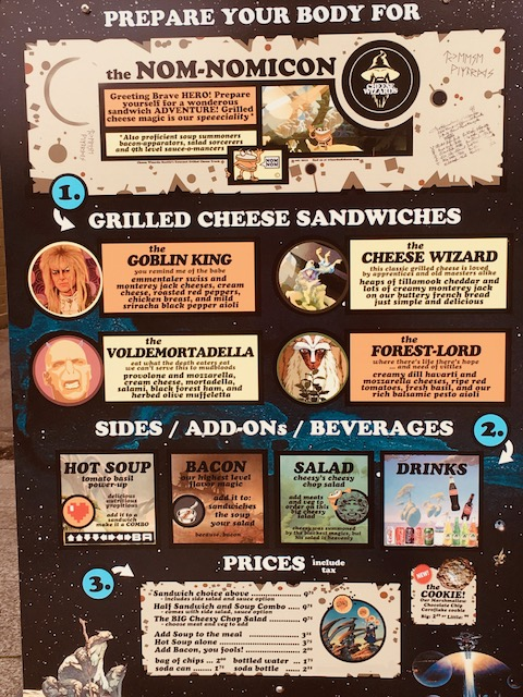 Menu: My favorite is the CHEESE WIZARD with Tomato Soup / Photo Credit: Bella Stephens
