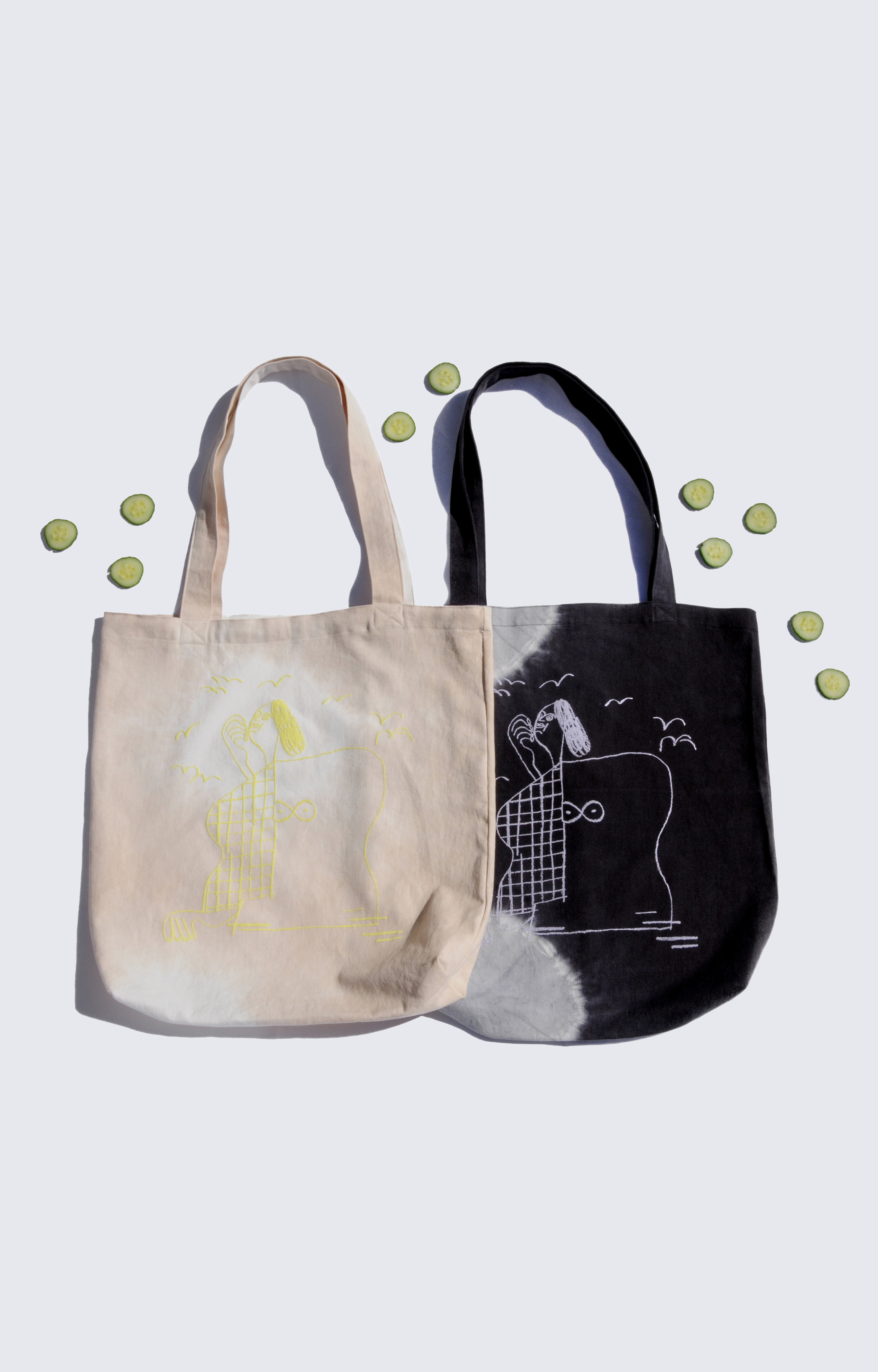 """essential tote - 0228COLOR : BLACK AND WHITE TIE DYE WITH LILAC PUFF PRINTORBEIGE AND WHITE WITH LIME GREEN PUFF PRINTARTWORK BY MARIA MIDTTUNFABRIC : TWILLCONTENT : 100% COTTONWHOLESALE $26 / RETAIL $52SIZES : ONE SIZE / 20"""" X 18"""" BAG WITH 30"""" STRAPS"""