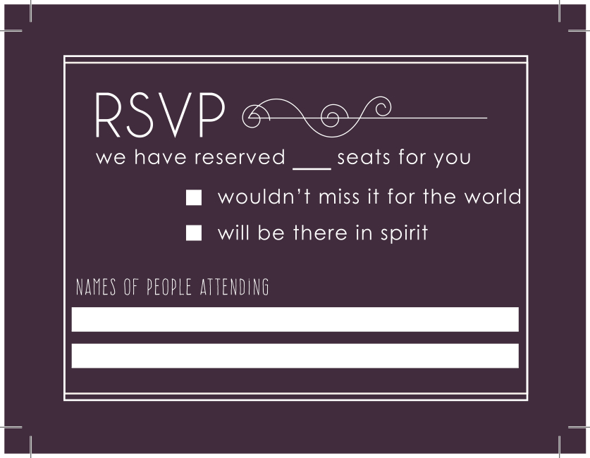RSVP card,  show with print lines