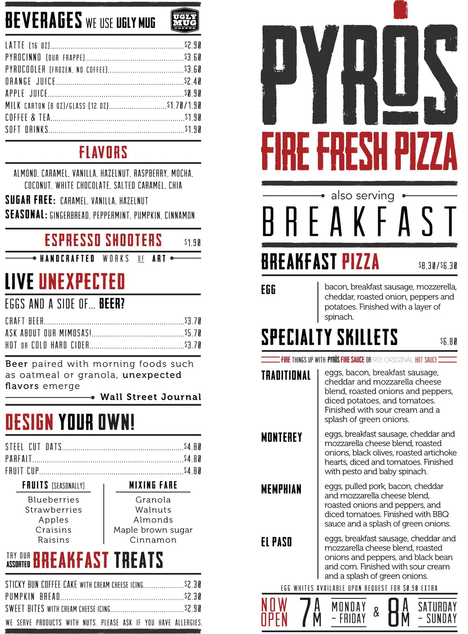 Pyros Fire Fresh Pizza   One of several menu designs completed.