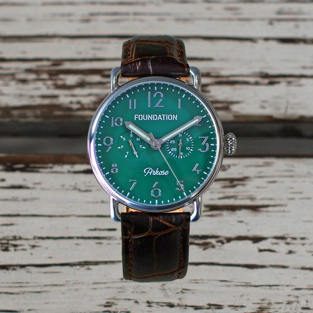 Foundation Watches: Arkose in Emerald on Chocolate