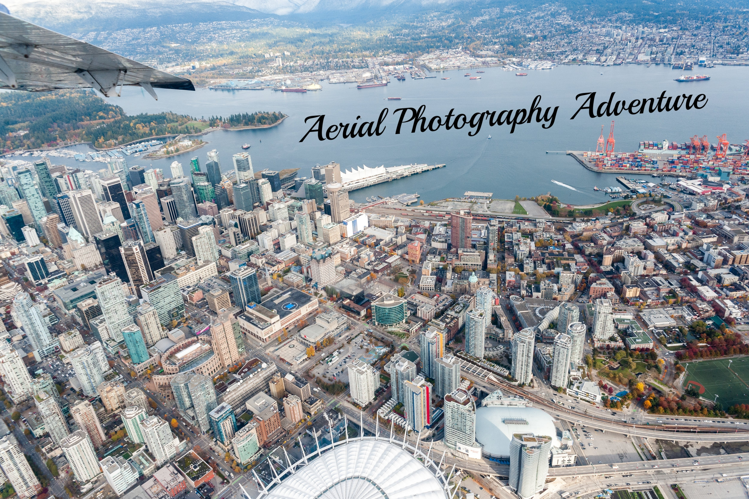 Shot above downtown Vancouver from a Harbour Air Seaplane