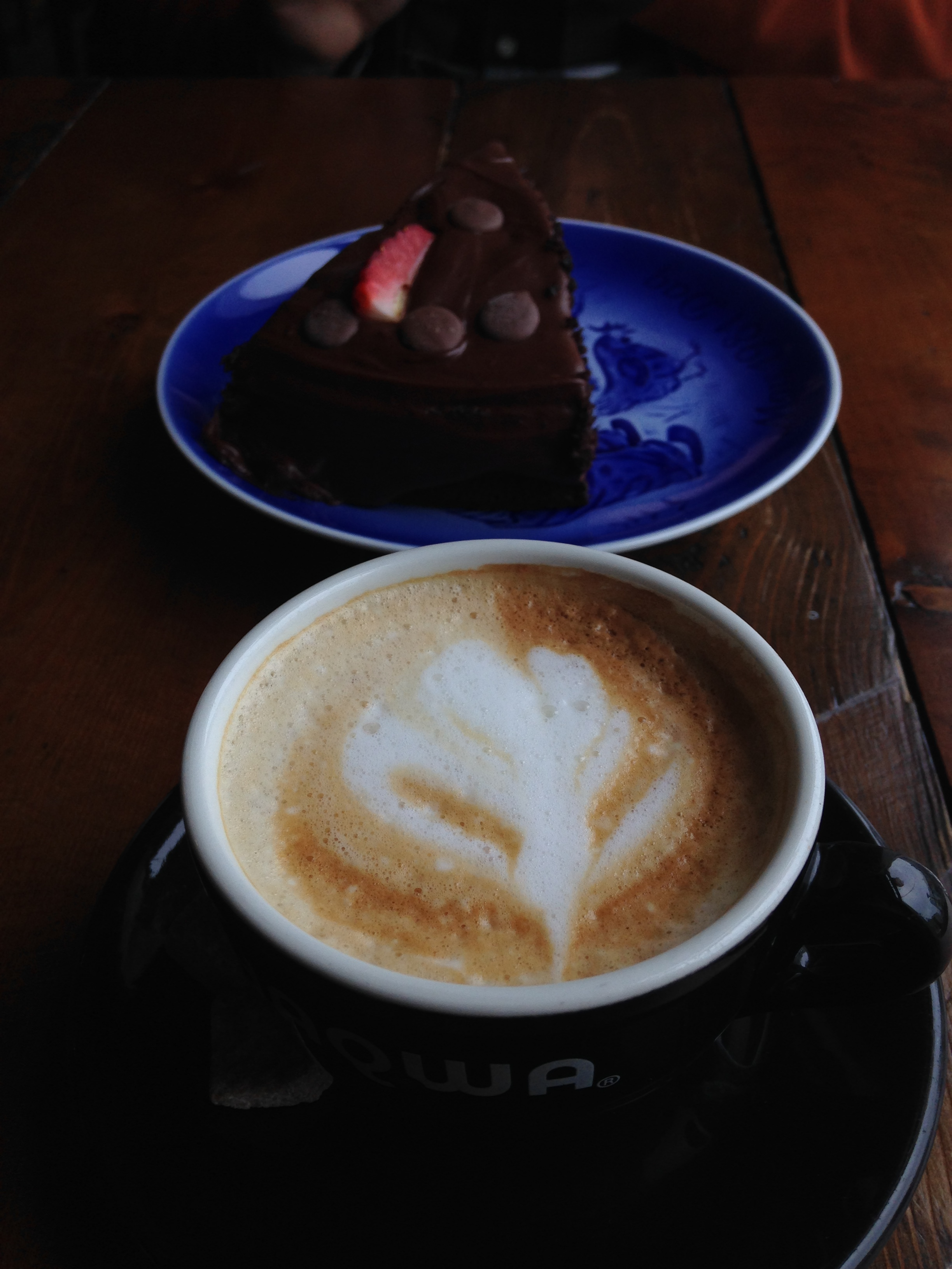 Coffee memories: a hot cup and chocolate cake on a cold, sleety day while visiting Reykjavik, Iceland before we were three.