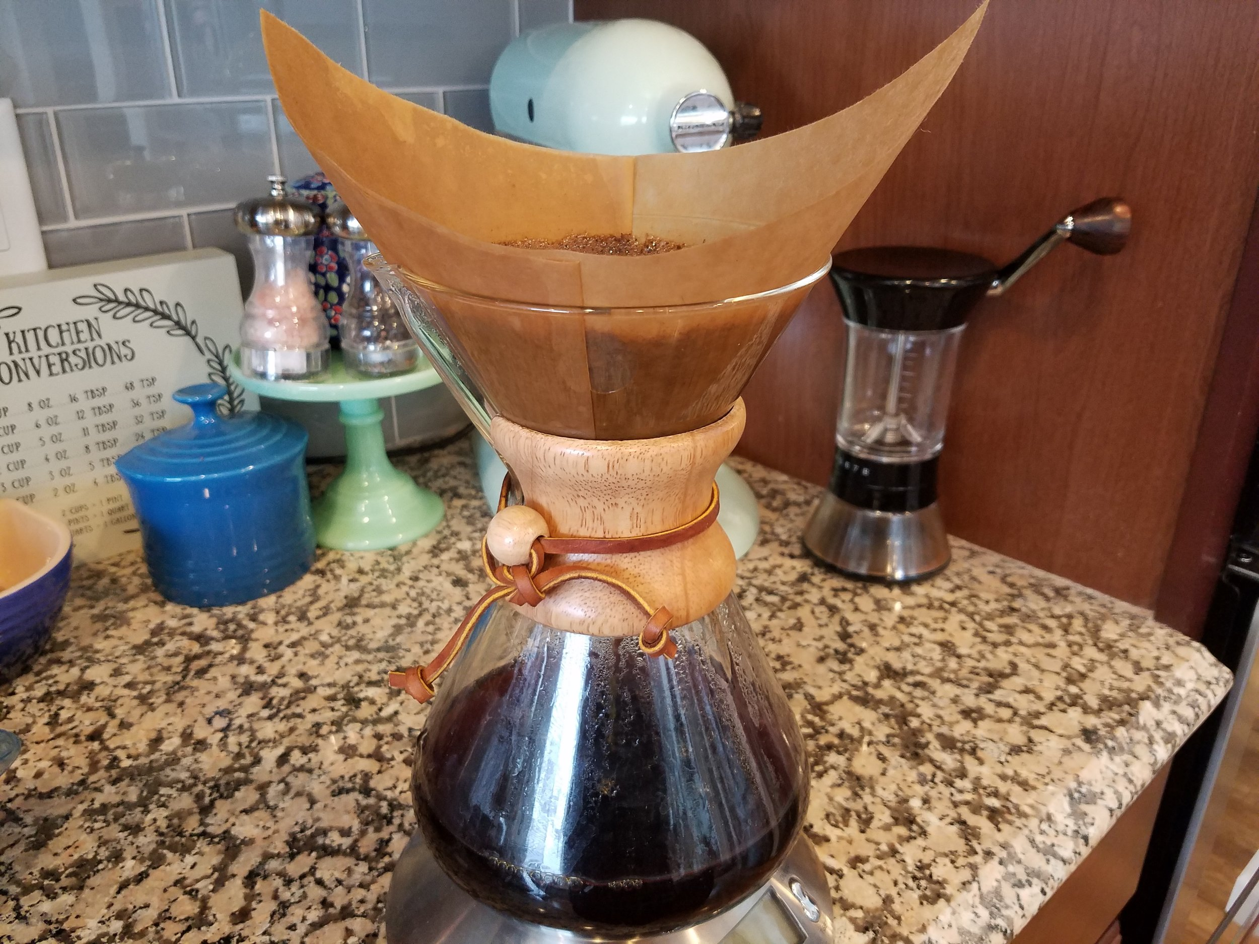 Afternoons home in our house call for coffee by Brandon's preferred brew method - the Chemex.