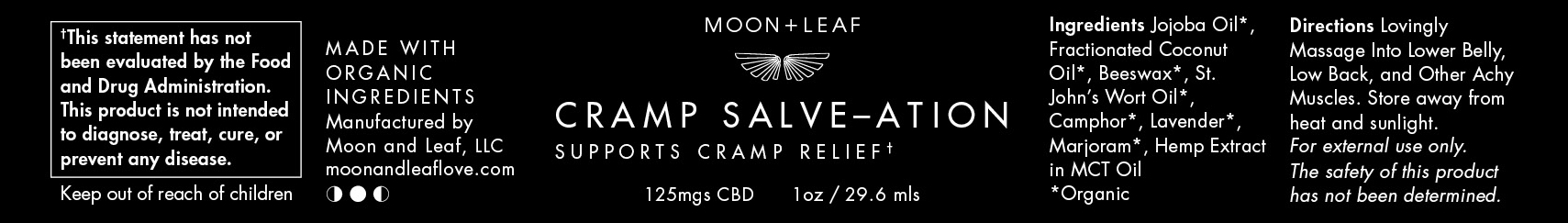 Client: Moon + Leaf · Packaging (Black background to show text only)