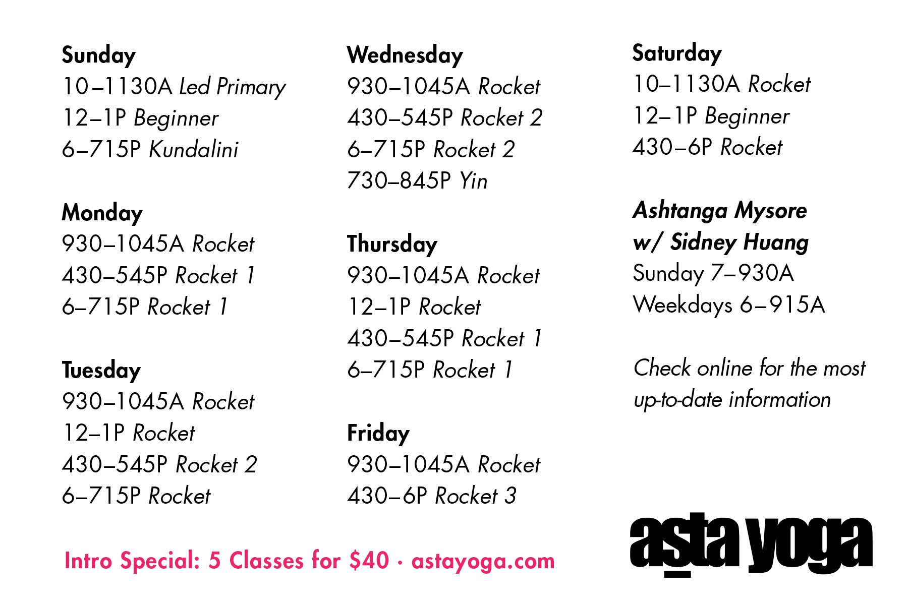 Client: Asta Yoga · Print Postcard (Back)