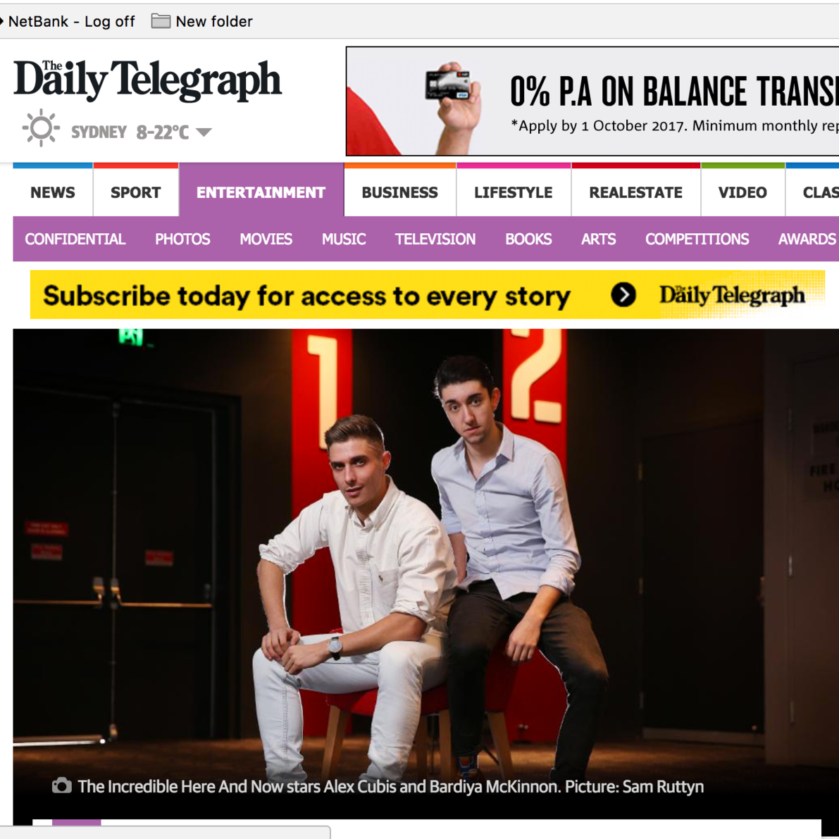 Daily Telegraph: Alex Cubis & Bardiya McKinnon
