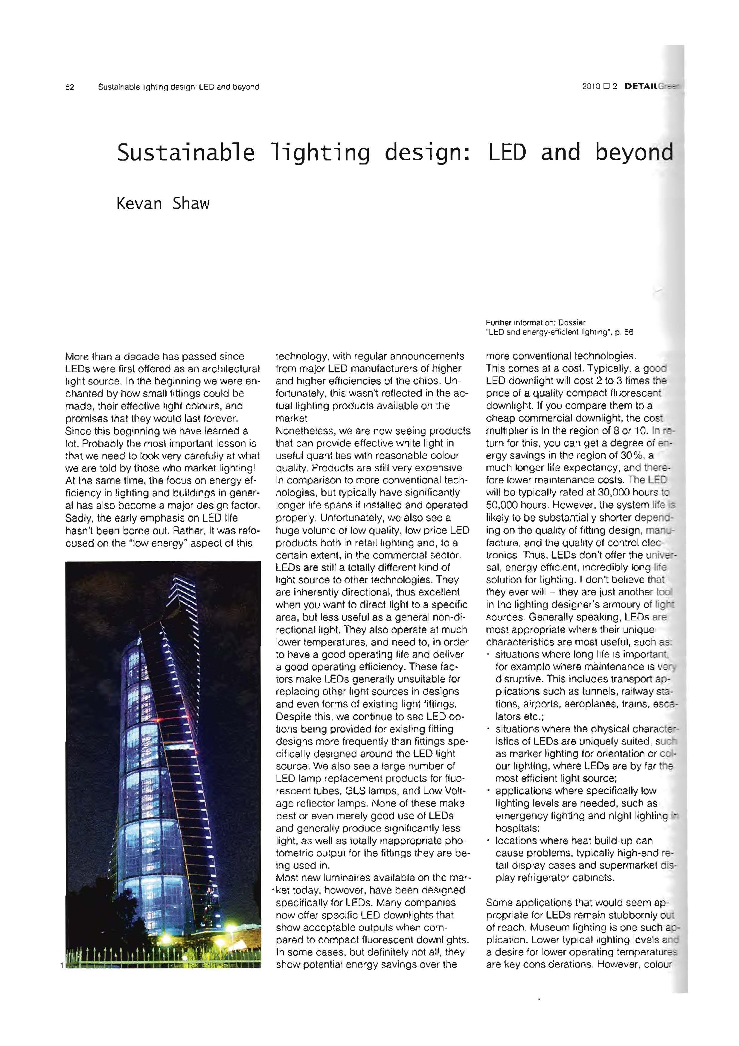 Sustainable lighting design: LED and beyond