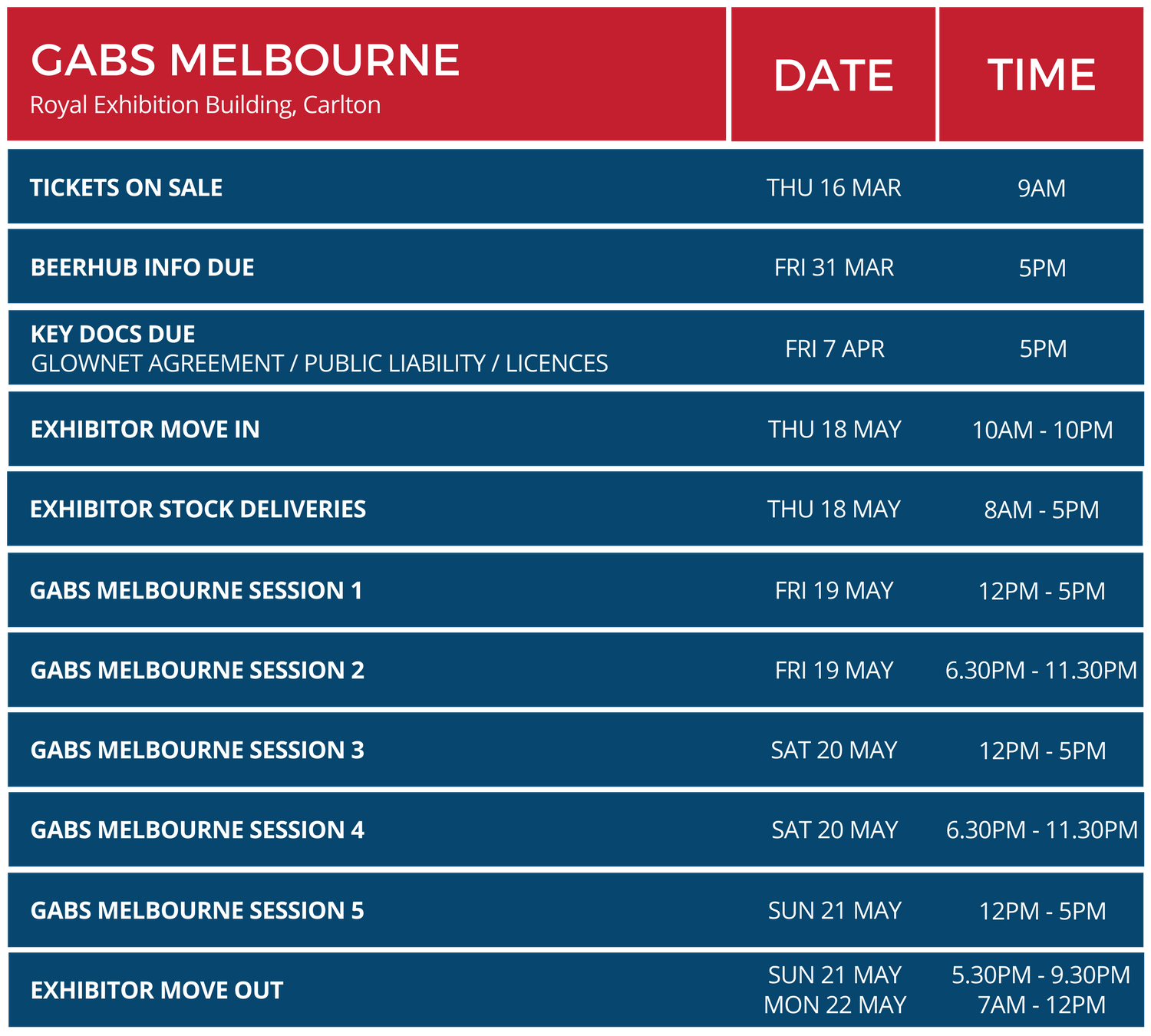 EXHIBITOR EVENT TIMINGS (GABS MELBOURNE).png