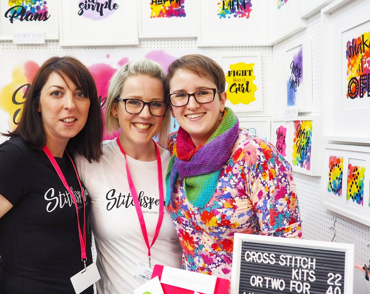 Meeting Charlie (in the middle) at the Spring Knitting & Stitching Show