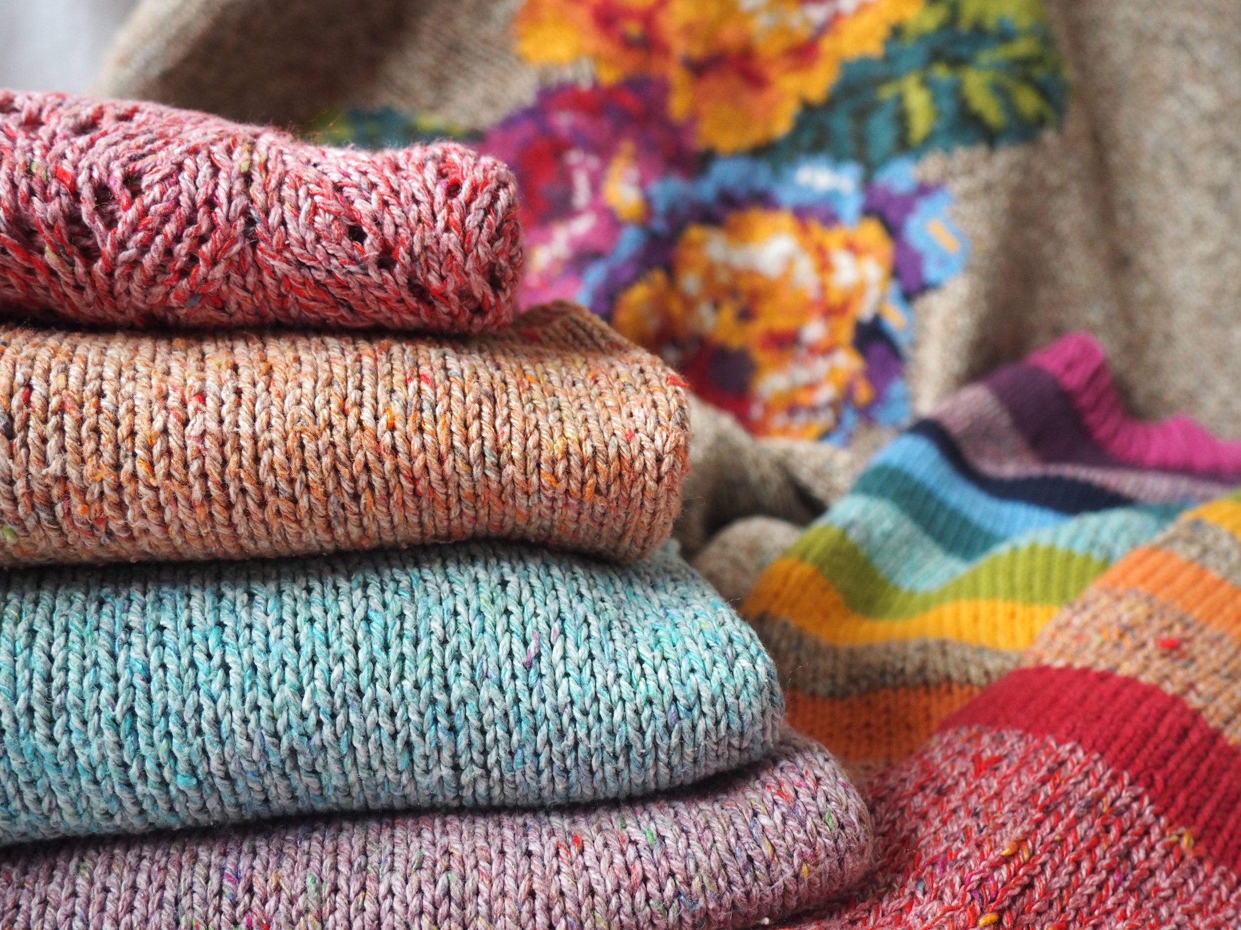 Rainbow knitting landscape - JCockcroft.JPG