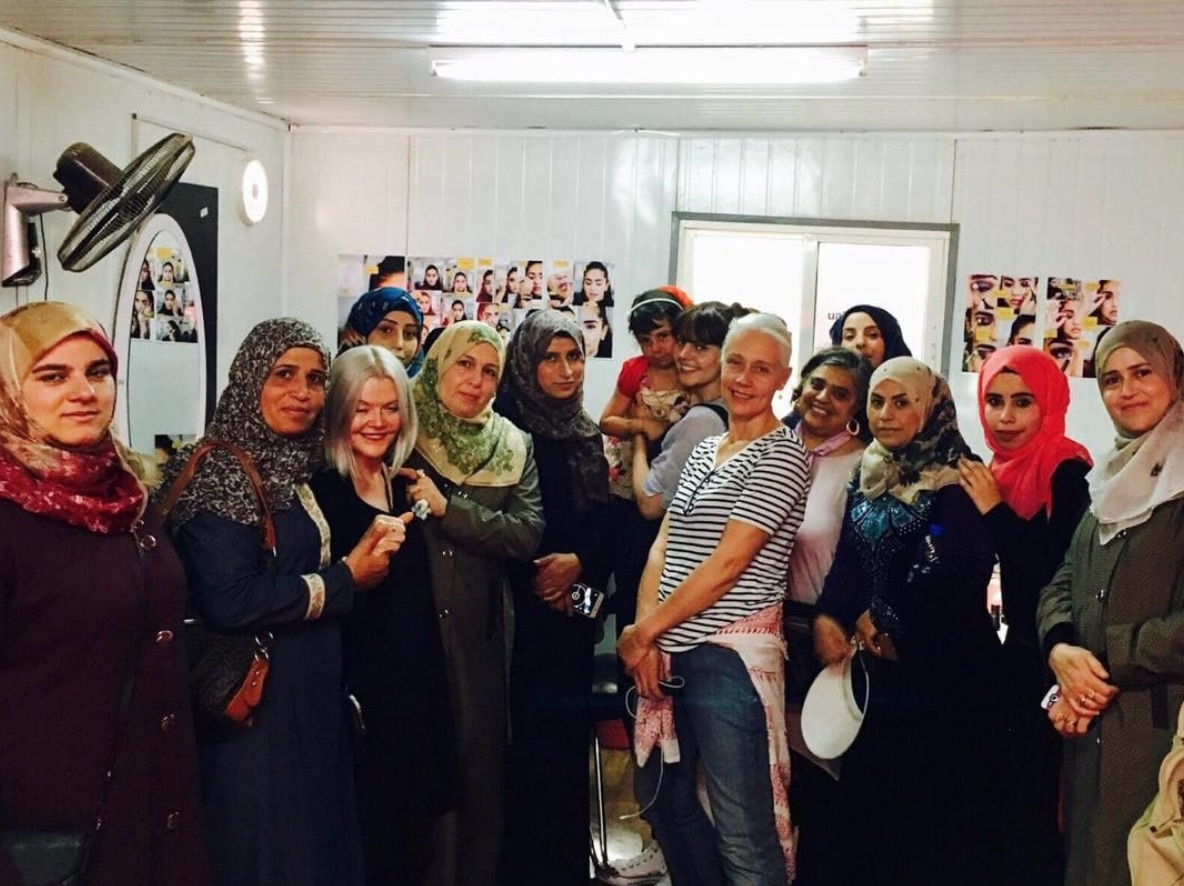 Storey and students at one of the short beauty courses provided by London College of Fashion in the Za'atari Camp. Picture: LCF.