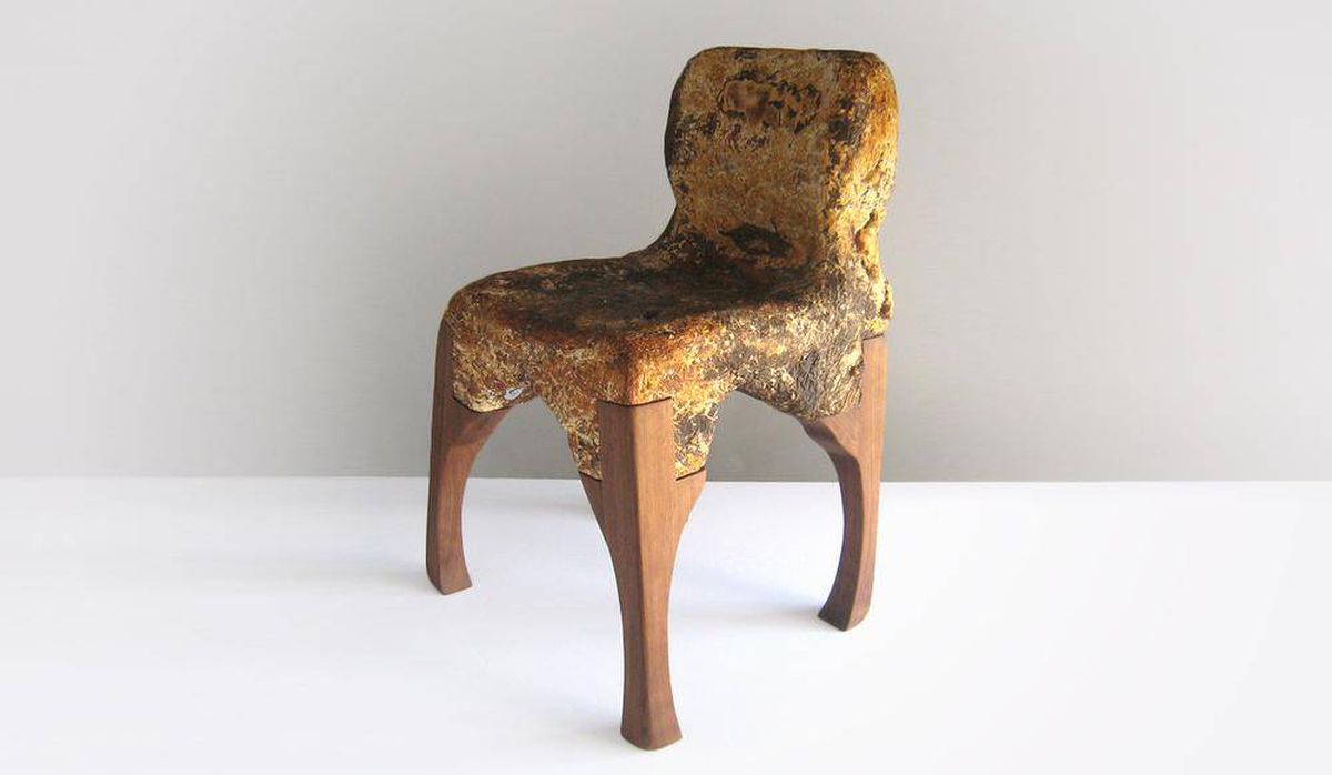 - Phillip Ross' chair bodies, pictured here, the Yamanaka McQueen, are grown from sawdust and tree fungus.