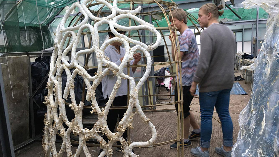 - Vesaluoma's Grown Structures use mycelium mixed with cardboard which is then moulded into 'mushroom sausages'.