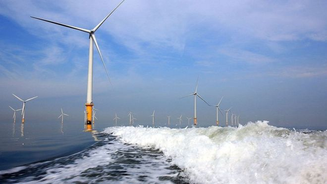 The Burbo Bank Offshore Wind Farm is a 348 MW offshore wind farm located on the Burbo Flats in Liverpool Bay. Picture: Getty.
