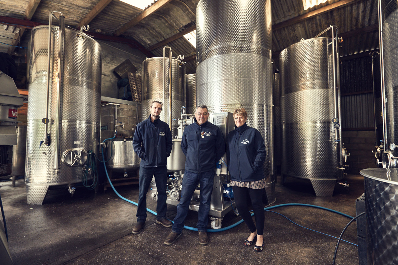 Andy, Andrew and Anne Hallet of Hallets Cider. Picture: Rob Evans.